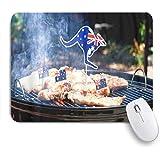 Yaoni ゲーミング マウスパッド,象徴的なオーストラリアのバーベキュー男調理ソーセージとステーキ,マウスパッド レーザー&光学マウス対応 マウスパッド おしゃれ ゲームおよびオフィス用 滑り止め 防水 PC ラップトップ