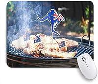 VAMIX マウスパッド 個性的 おしゃれ 柔軟 かわいい ゴム製裏面 ゲーミングマウスパッド PC ノートパソコン オフィス用 デスクマット 滑り止め 耐久性が良い おもしろいパターン (象徴的なオーストラリアのバーベキュー男調理ソーセージとステーキ)