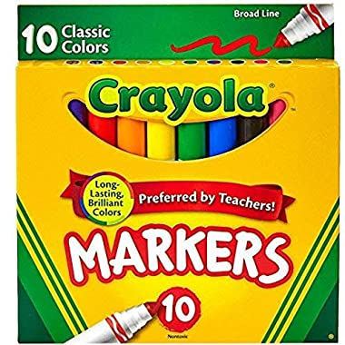 Crayola Broad Line Markers, Classic Colors 10 Each (Pack of 6)