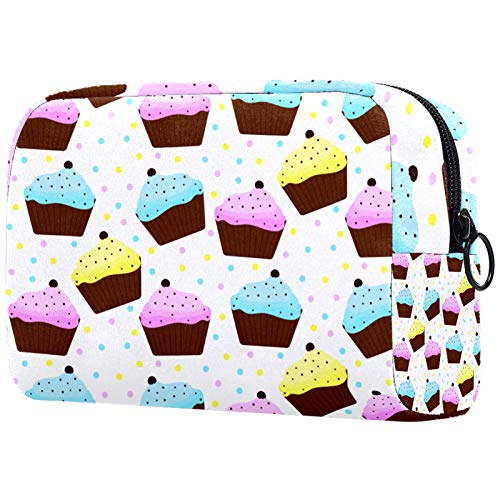 Cosmetic Bag Womens Makeup Bag for Travel to Carry Cosmetics Change Keys etc,Cupcakes with Blue and Yellow