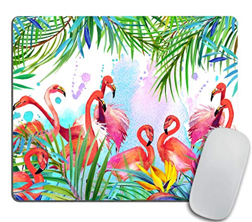 Flamingo Mouse pad, Flamingos with Tropical Leaves and Flowers Pattern Rectangle Non-Slip Rubber Mousepad 9.5 X 7.9 Inch (240mmX200mmX3mm)