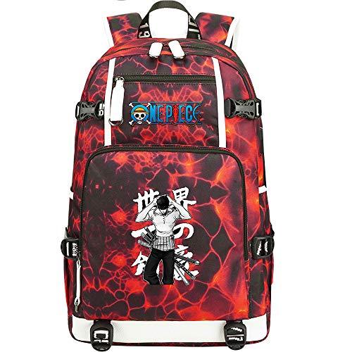 ZZGOO-LL One Piece Monkey·D·Luffy/Roronoa Zoro Mochila con para Mujer, Mochila de Viaje Suave, Mochila para Escuela, Notebook, Mochilas para niñas con USB-C