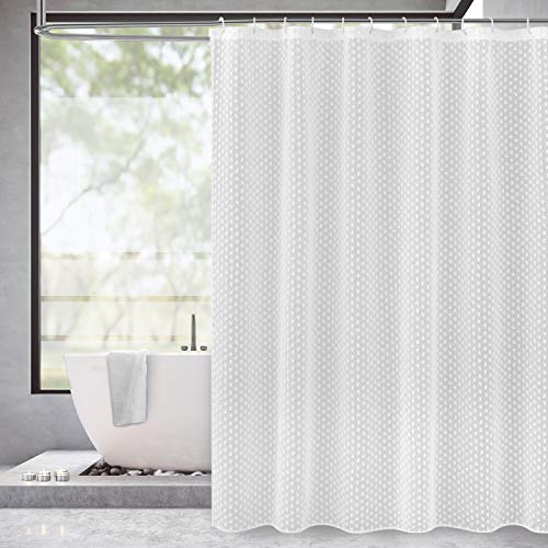 Dainty Home Valeria Faux Linen 3D Cotton Ball Puff Shower Curtain, 70x72 White