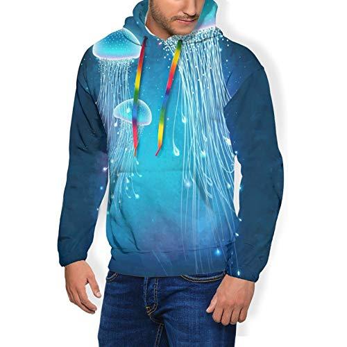 Slim Winter Hoodies, Men & Boys Pullover Hooded Plus Velvet Thickening Sweatshirtsss for Exercise Hiking Sports - Hip-Hop Drawstring Magic Glowing Jellyfish Underwater Tracksuits