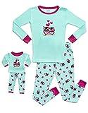 Leveret Kids & Toddler Pajamas Matching Doll & Girls Pajamas 100% Cotton Pjs Set (Owl,10 Years)
