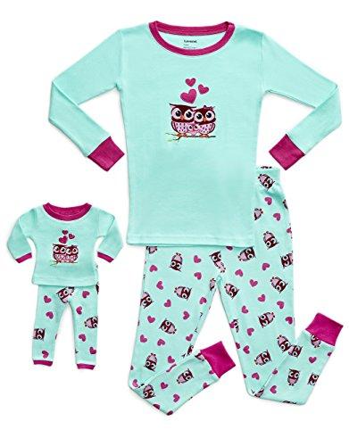 Leveret Kids & Toddler Pajamas Matching Doll & Girls Pajamas 100% Cotton Pjs Set (Owl,6 Years)