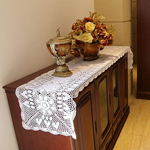 Damanni Rectangular Cotton Handmade Crochet Lace Table Runner Doilies Table Dresser Scarf Décor,16 Inch by 63 Inch,White
