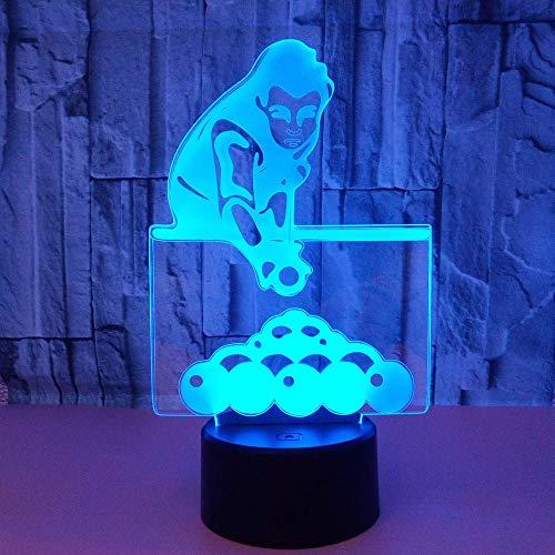 WULDOP Lámpara 3D Luz De Noche Jugando al billar deportes chico Lámpara De Ilusión 3D Lámpara De Escritorio De Mesa Táctil Que Cambia De 7 Colores Para Dormitorio De Niños Con Regalos De Cumpleaños A