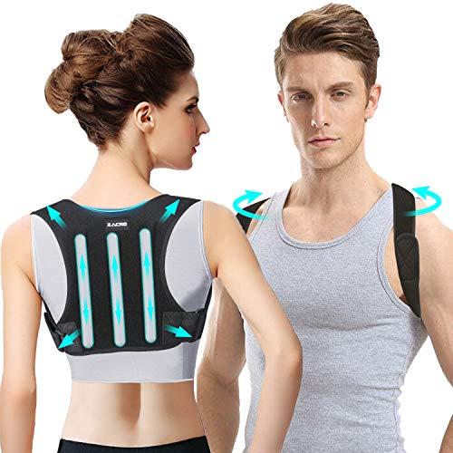 Zacro Rücken Geradehalter Haltungskorrektur Rückenstütze - Haltungstrainer Rücken Damen und Herren, Verstellbare Rückengurt Rückenstabilisator, Haltungstrainer mit 2 Schulterpolster