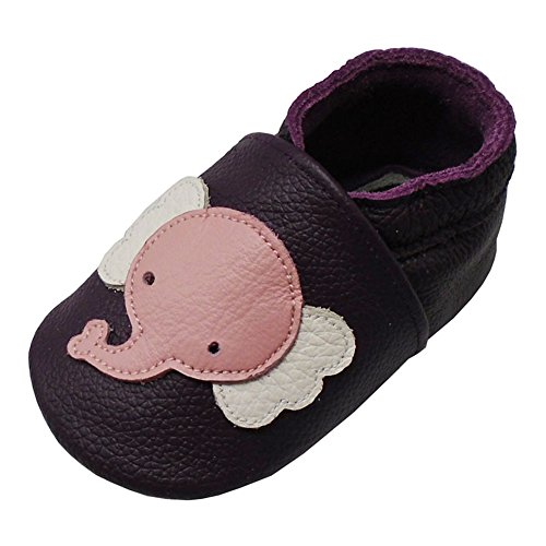 YALION Baby Weiche Leder Lauflernschuhe Krabbelschuhe Hausschuhe Lederpuschen Elefant (6-12 Monate, Dunkelviolett)