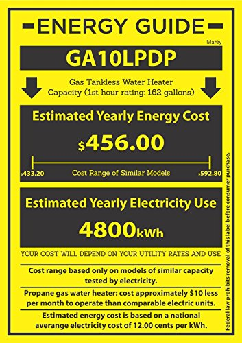 Marey Power Gas 10L 2.7 GPM Propane Gas Digital Panel Tankless Water Heater