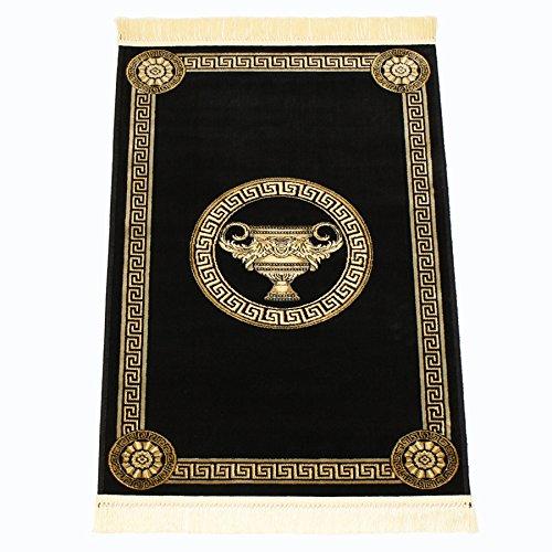 Belle Arti Carpets *Exquisite* Mäander Teppich aus Kunst-Seide Medusa Amphore versac (160 x 230 cm, Schwarz)