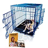 PET Expressions Wire Dog Kennel - Double Door Metal Steel Crates - Indoor Outdoor Pet Home - Folding and Collapsible Cage (SMALL-24, Electric Blue)