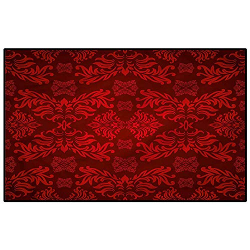 Maroon Children Play Dormitory Home Decor Rug Classic Ancient Nature Leaf Bedroom Carpet Birthday Present 3 x 5 Ft