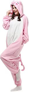 Unisex Adult Pink Pig Pyjamas Halloween Costume One Piece Animal Cosplay Onesie