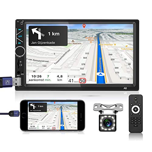 Car Stereo Double Din 7 Inch HD Touch Screen MP5 Radio Audio Receiver with Bluetooth FM Support USB/AUX-in/RCA/TF/Steering Wheel Control Mirror Link for Android iOS Phone + 12 LED Rear View Camera