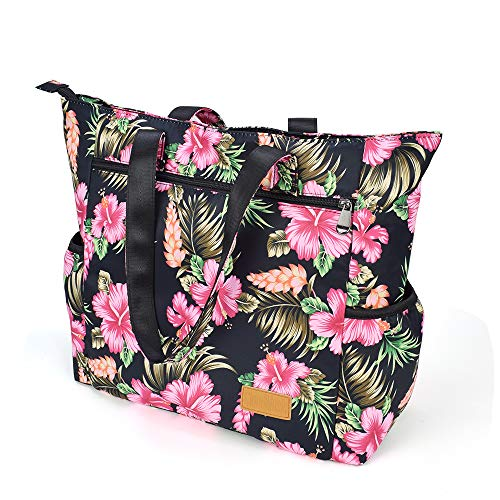 CLOUDMUSIC Shoulder Bag Tote Bag For Women Multi-functional Bag Daily Shopping Travelling Sports Fitting Hiking(Hibiscus In Black)