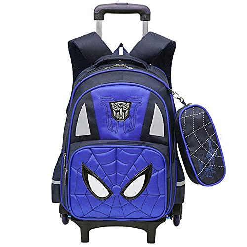 GJZhuan Mochila De 2 Ruedas para Niños Spider Man con Y Niñas Barra Tracción Mano Oculta Impermeable Durable Trolley Maleta Exteriores,Blue-2 Wheels