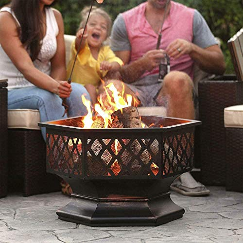 FMXYMC Outdoor Fire Pit Wood Burning, 24 inch Hex Shaped Fire Pit with Flame-Retardant Mesh Lid, Steel Firepit Bowl Heater, for Halloween Party