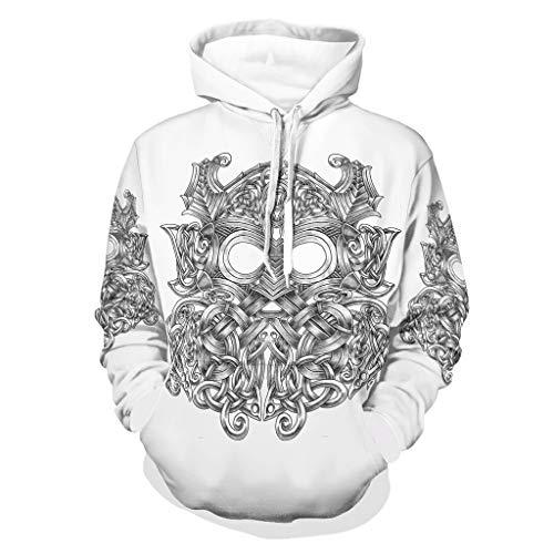 Unisex Vikings Tattoo Hoody Funny - Chaqueta de entrenamiento con capucha de poliéster blanco2 s