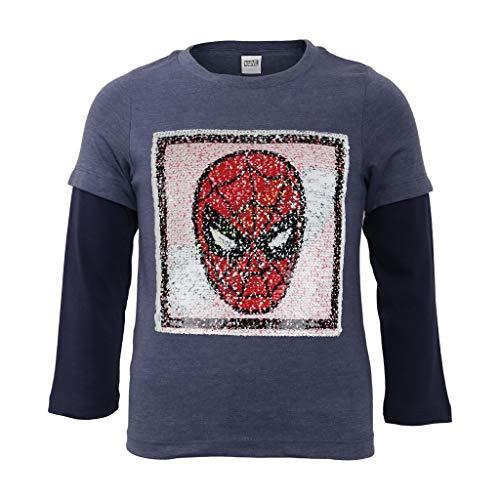 Marvel Comics Spiderman Máscara Reversible Lentejuelas Niños de Manga Larga Camiseta Navy Heather 140