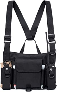 Cascabar Adjustable Chest Rig Bag Vest Hip Hop Tactical Harness Chest Rig Pack Radio Harness Chest Front Pack Walkie Talkie Pouch Holster Carry Waist Bag