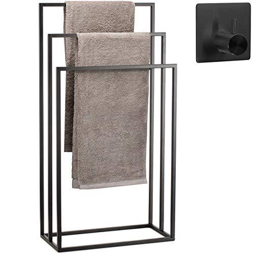Toallero de pie para baño Acero Inoxidable – Cubierta Polvo Negro – toalleros de baño de pie con 3 Brazos +MÁS Gancho Adhesivo