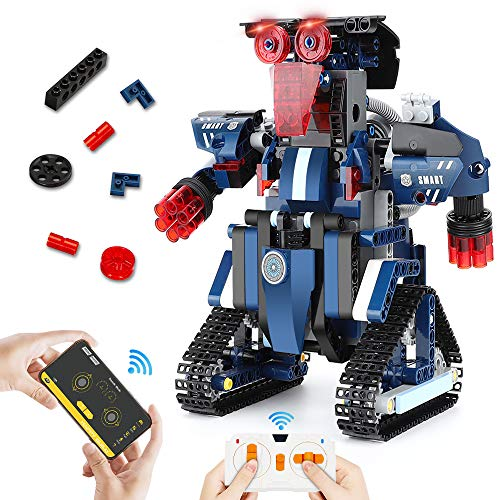 Bloque de Construcción Robot para Niños, 367 piezas DIY Kit Robot de Juguete Set de Construcción Construir por Uno Mismo Robot de Control Remoto, Recargable Juguetes de Robot Controlados por APP Voz