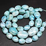Natural Blue Larimar AA Grade Smooth Oval Loose Beads Strand 18'10mm 20mm