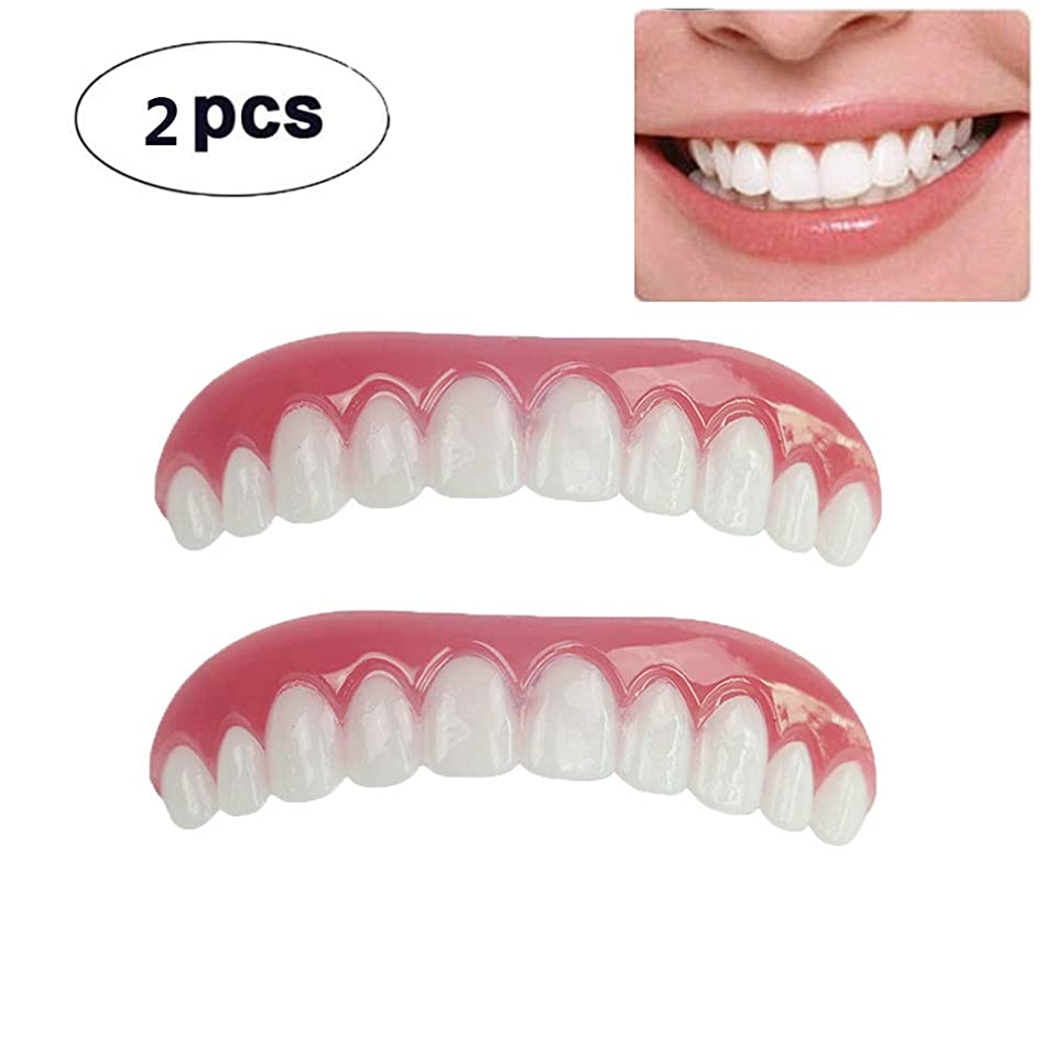 ケイ素フリンジスコア2枚の歯科用化粧板が歯の化粧化粧板の上部にぴったり合うサイズがすべての義歯の接着剤の歯に似ています偽の歯の笑顔