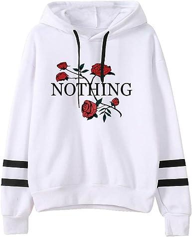 Fossen Mujer Sudadera con Capucha Rose Nothing Camiseta Tops Invierno Rops Suéter Abrigo