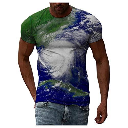 Camiseta unisex con impresión 3D divertida, para hombre, verano, moda informal, mapa del mundo 3D, impresión de abejas, manga corta, cuello redondo, estampado, tallas S-XXL azul oscuro M