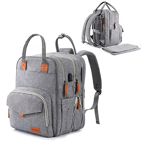 Diaper Bag Backpack - Large Expandable Waterproof Baby Bags For Twins, 24 Pockets - Stylish Nappy Maternity Bag with Changing Pad and Stroller Straps for Mom and Dad - Multifunction Travel Back Pack