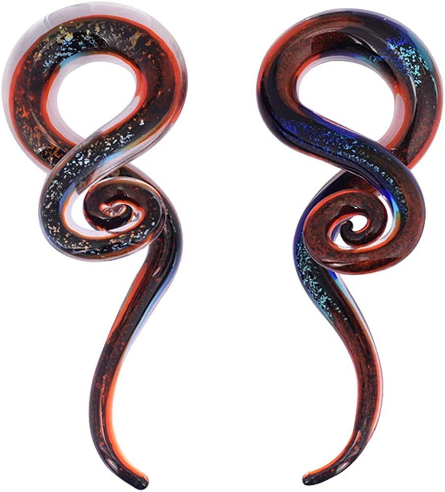 Oyaface 2 PC Glass Ear Tapers Teardrop Inventory Some reservation cleanup selling sale 4G-14mm Plugs Spiral Gaug