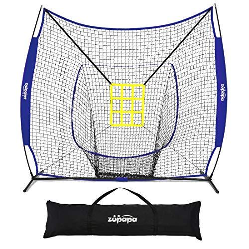 Zupapa 7 x 7 Feet Baseball Portable Hitting Pitching Practice Net, Baseball Backstop Practice Net for Batting Catching for All Skill Levels