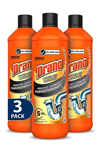 Drano (Mr Muscle) Power Gel Rohrfrei Abflussreiniger, Rohrreiniger, für Küche und Bad, entfernt Verstopfungen, 3er Pack (3 x 1000 ml)