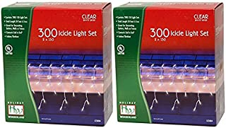2-Pack Holiday Wonderland 300-Count Clear Christmas Icicle Light Set