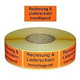 Warnetiketten/Versandetiketten'Rechnung & Lieferschein innenliegend' auf Rolle - 30 x 62 mm - 1.000 Stück