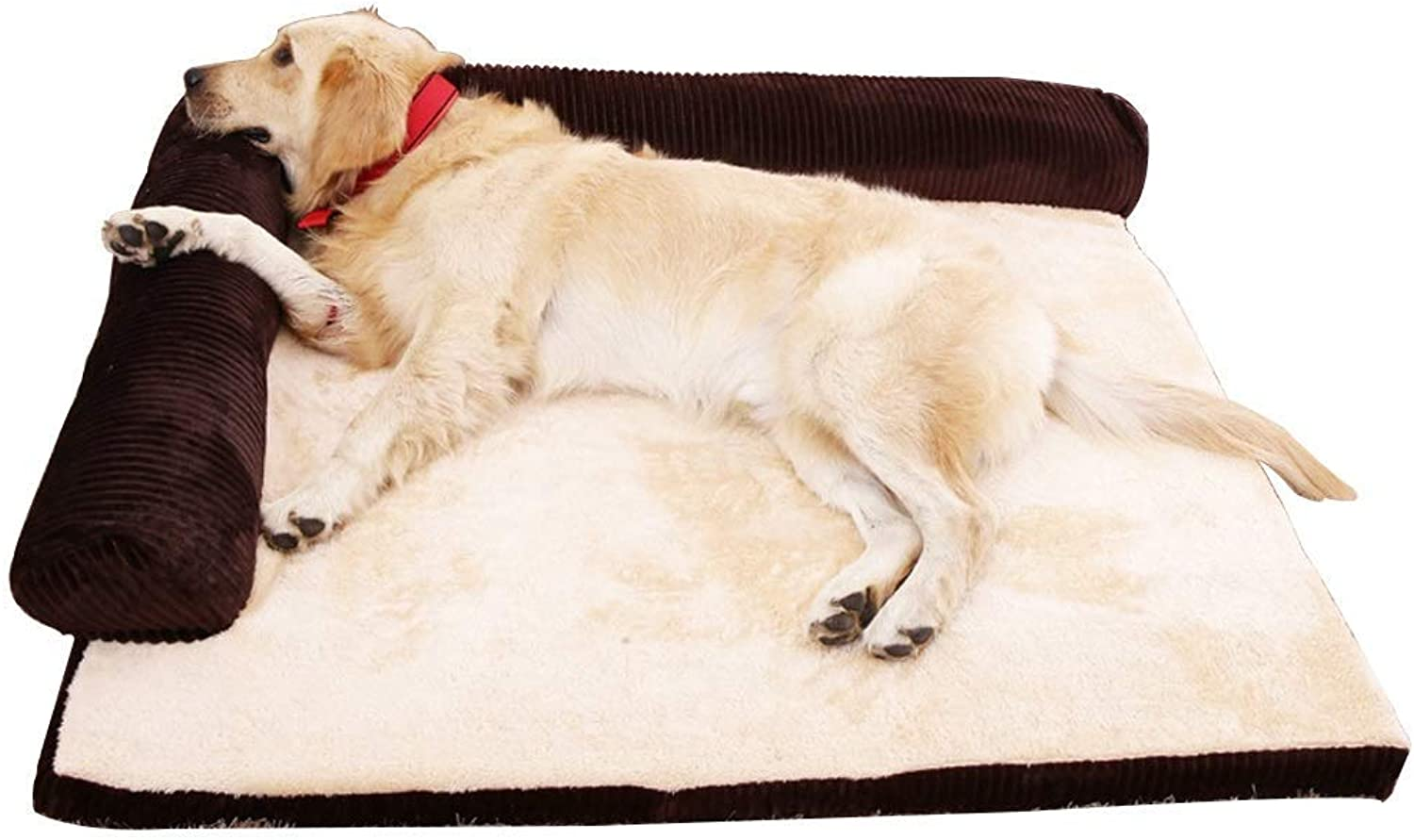 KYCD pet bed Large Square Pet Sofa Corduroy Pet Bed, Cat and Dog, All Removable and Washable, Suitable for Small and Medium Pet Small Pets (color   BROWN, Size   S)