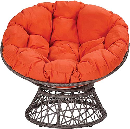 TOPYL Hammock Papasan Chair Cushion,51'X 51'X 6',Cotton Round Solid Color Cradle Hanging Swing Chair Pads for Indoor Outdoor Patio Orange Diameter130cm(51inch)