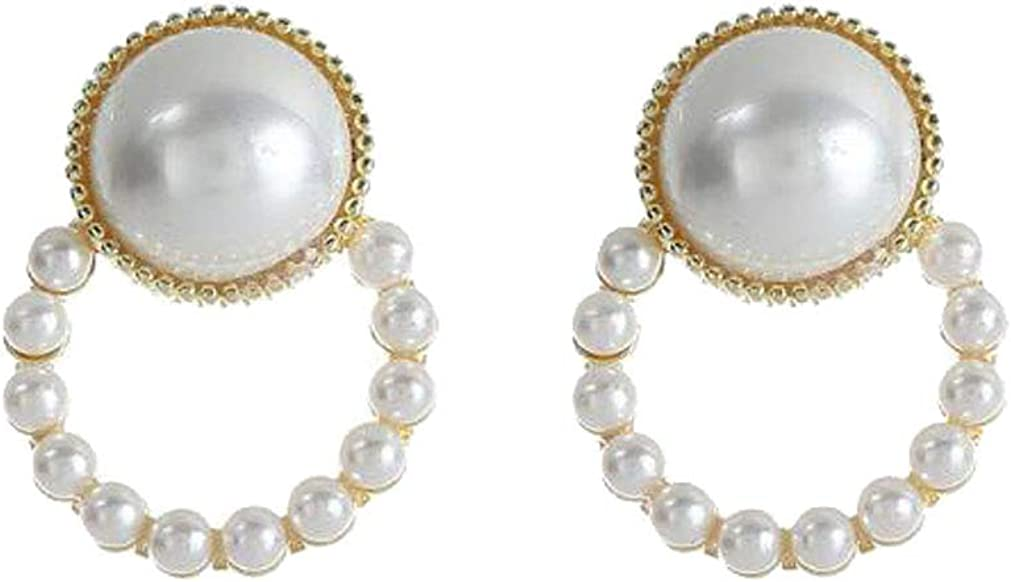 Hoop Simulated Pearl Clip on Earrings for Women Grils Round Non-Pierced Gold Plated Prom