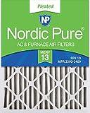 Nordic Pure 20x25x2M13-3 20x25x2 MERV 13 Pleated AC Furnace Air Filter, Box of