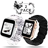 WAAILU Compatible with Apple Watch Band Scrunchies 38mm 40mm 42mm 44mm, Cloth Soft Pattern Printed Fabric Wristband Bracelet Women Compatible with iWatch Series 5/4/3/2/1