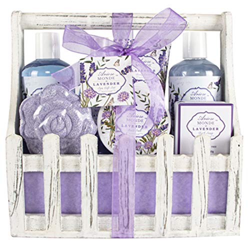 Bath Spa Basket Gift Set, with Lavender & Jasmine Scent, Home Spa Gift Basket Kits for Women, Includes Body Lotion, Shower Gel, Bath Salts, Bubble Bath, Body Mist, Bath Soap, Bath Bomb, 8 PCS