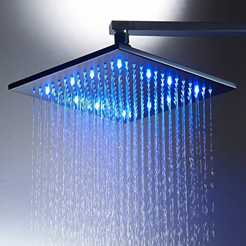 Zovajonia Oil Rubbed Bronze Square LED 8' Shower Head Color Changing Brass Showerhead