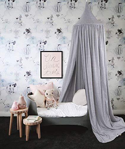 Baibu Home 天蓋 カーテン テント式 蚊帳 ベビーベッド シングル ベッドカーテ ン インテリア 蚊帳にもなる グレー 50*200cm 取り付け道具付き