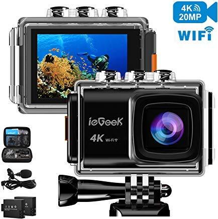 Action-Kamera, ieGeek 4K 20MP WiFi Wasserdichte Sportkamera Ultra HD Unterwasserkamera DV Camcorder EIS Bildstabilisator 170 Grad Weitwinkel mit 2 Akkus/externes Mikrofon/Tragetasche/Zubehör-Kit