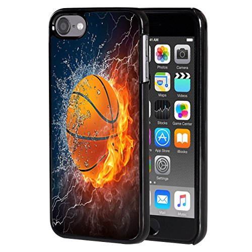 iPod Touch 6 caseAIRWEE Slim Back Cover Hard Plastic Protector Case Stylish Design for Apple iPod Touch 6th Generation  Fire and Ice Basketball