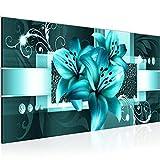 Wandbilder Blumen Lilien Modern Vlies Leinwand Wohnzimmer Flur Abstrakt Türkis 008612a