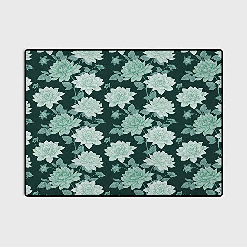 Floral Christmas Bathroom Rugs Patio Rugs Shabby Chic Constantia Flower Blossoms Purity Hyacinth Romantic Vintage for Laundry, Kitchen, Bathroom Mint and Dark Green 3 x 5 Ft